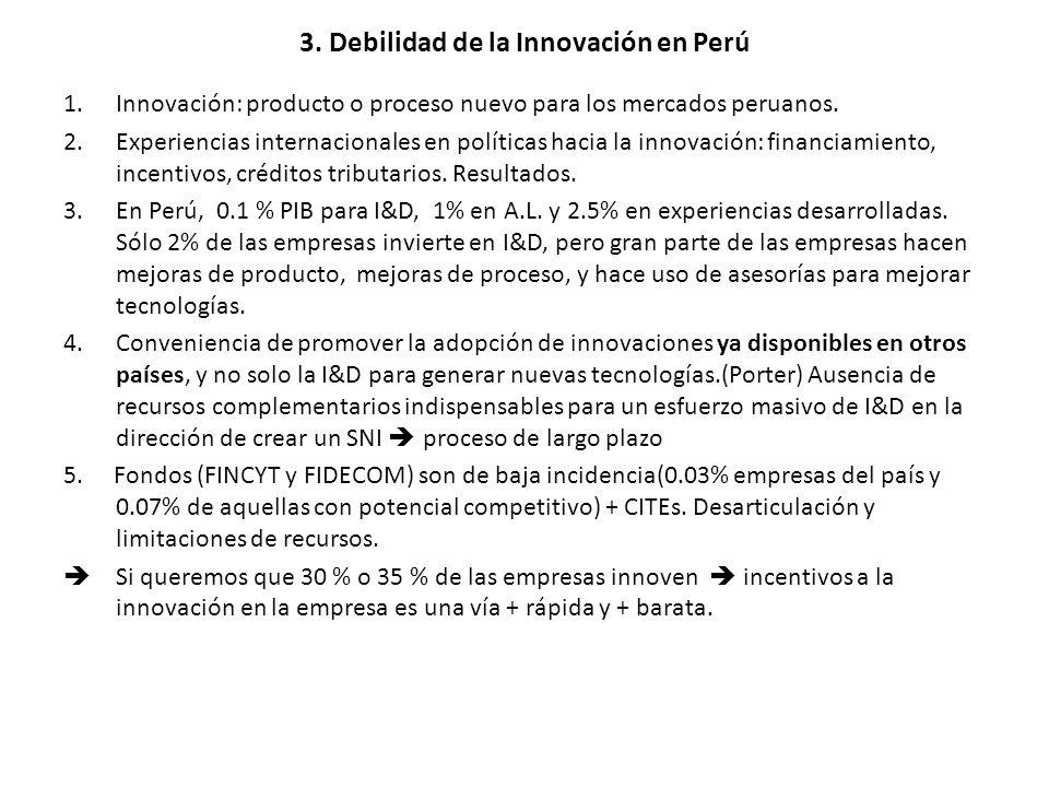3. Debilidad de la Innovación en Perú 1.Innovación: producto o proceso nuevo para los mercados peruanos. 2.Experiencias internacionales en políticas h