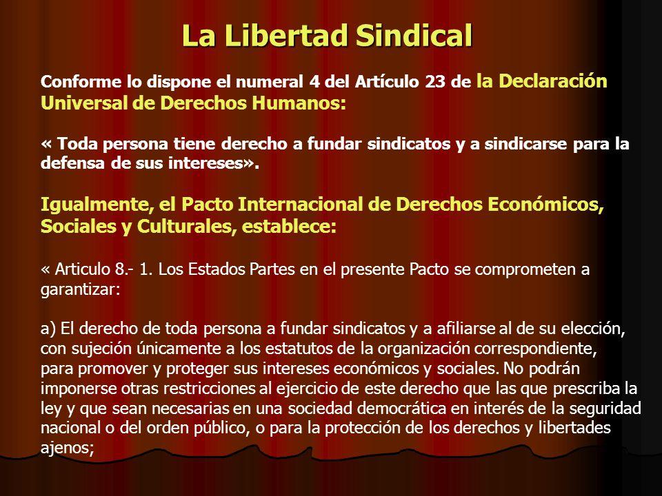 La Libertad Sindical Conforme lo dispone el numeral 4 del Artículo 23 de la Declaración Universal de Derechos Humanos: « Toda persona tiene derecho a
