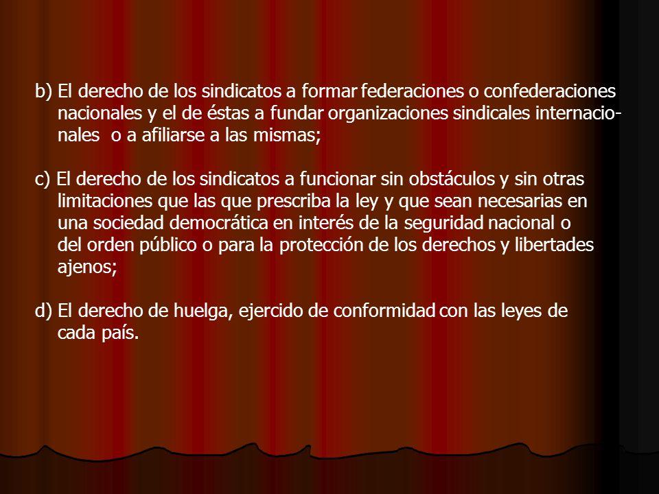 b) El derecho de los sindicatos a formar federaciones o confederaciones nacionales y el de éstas a fundar organizaciones sindicales internacio- nales