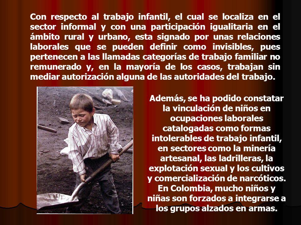Con respecto al trabajo infantil, el cual se localiza en el sector informal y con una participación igualitaria en el ámbito rural y urbano, esta sign