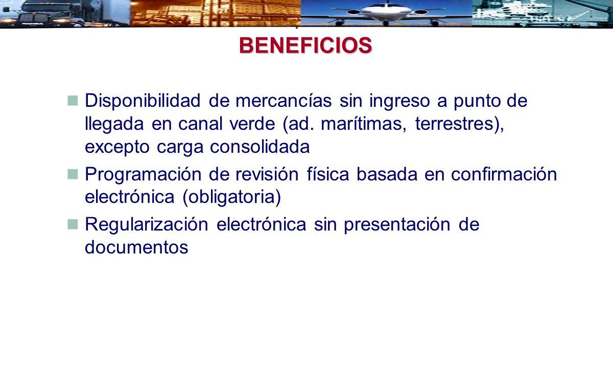 BENEFICIOS Disponibilidad de mercancías sin ingreso a punto de llegada en canal verde (ad. marítimas, terrestres), excepto carga consolidada Programac