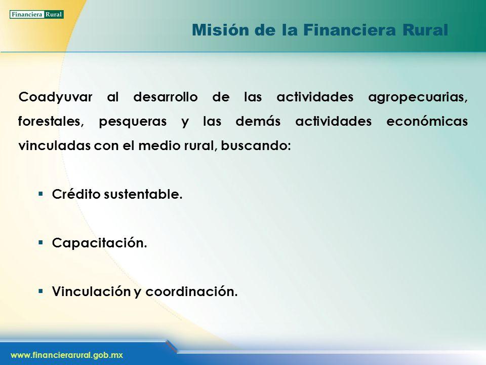 www.financierarural.gob.mx Misión de la Financiera Rural Coadyuvar al desarrollo de las actividades agropecuarias, forestales, pesqueras y las demás actividades económicas vinculadas con el medio rural, buscando: Crédito sustentable.