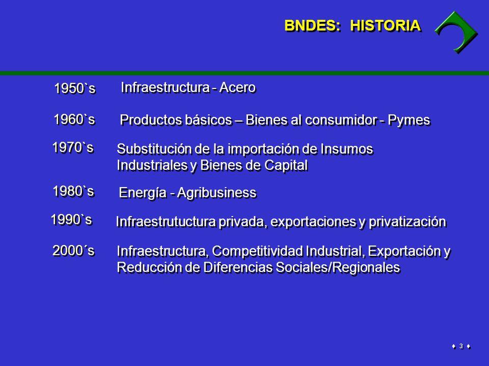 4 4 Financiación de Inversiones de Largo Prazo Participación Accionaria BNDES Financiación para la aquisición de maquinas y equipos BNDESPARFINAME 100 % BNDES – Estructura Organizacional