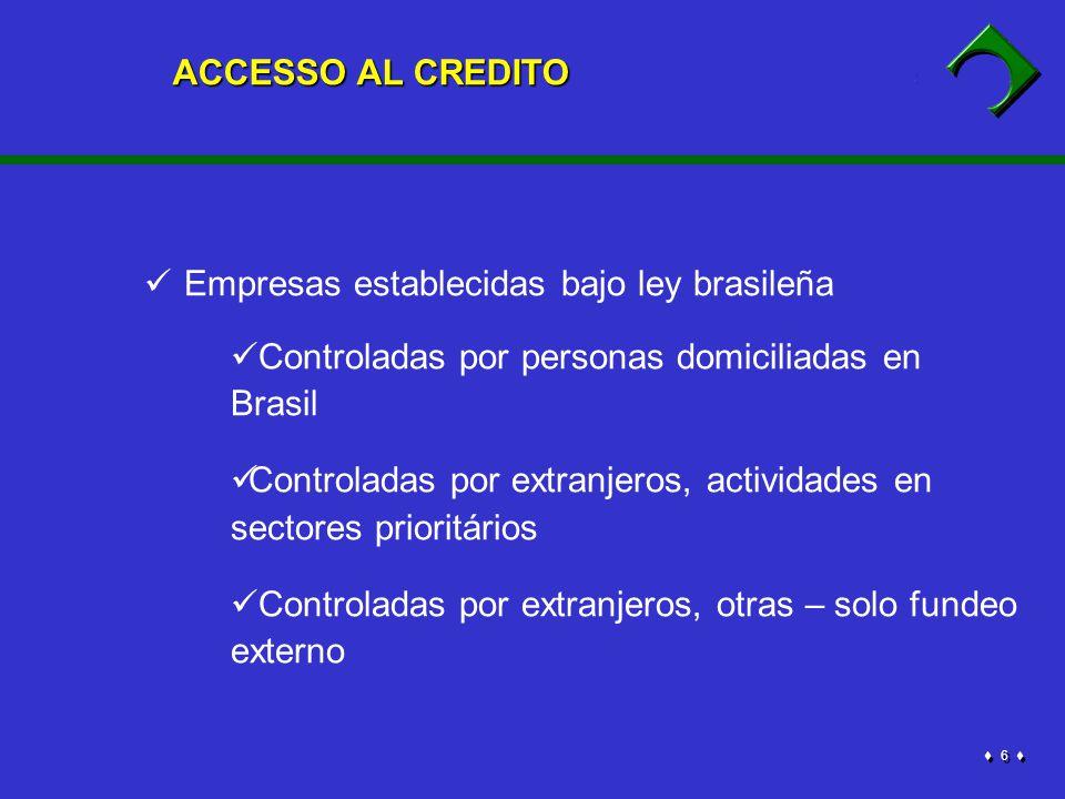 6 6 Empresas establecidas bajo ley brasileña Controladas por personas domiciliadas en Brasil Controladas por extranjeros, actividades en sectores prioritários Controladas por extranjeros, otras – solo fundeo externo ACCESSO AL CREDITO