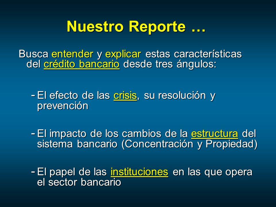 Nuestro Reporte … Busca entender y explicar estas características del crédito bancario desde tres ángulos: - El efecto de las crisis, su resolución y prevención - El impacto de los cambios de la estructura del sistema bancario (Concentración y Propiedad) - El papel de las instituciones en las que opera el sector bancario