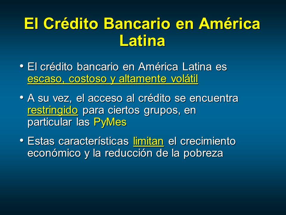El Crédito Bancario en América Latina El crédito bancario en América Latina es escaso, costoso y altamente volátil El crédito bancario en América Latina es escaso, costoso y altamente volátil A su vez, el acceso al crédito se encuentra restringido para ciertos grupos, en particular las PyMes A su vez, el acceso al crédito se encuentra restringido para ciertos grupos, en particular las PyMes Estas características limitan el crecimiento económico y la reducción de la pobreza Estas características limitan el crecimiento económico y la reducción de la pobreza