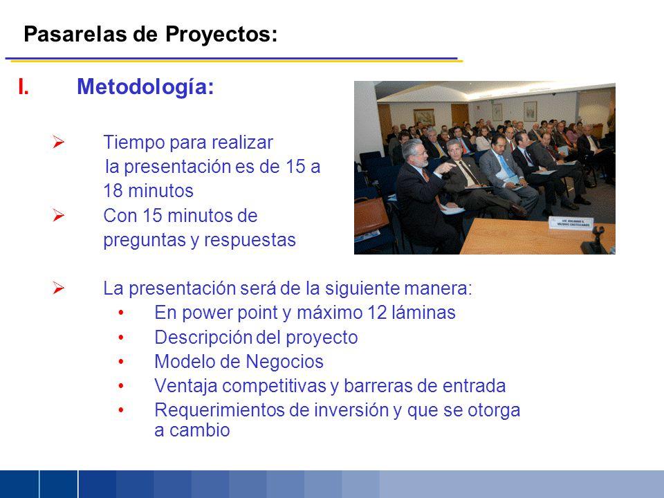 Pasarelas de Proyectos: I.Metodología: Tiempo para realizar la presentación es de 15 a 18 minutos Con 15 minutos de preguntas y respuestas La presenta