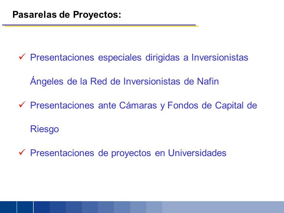 Presentaciones especiales dirigidas a Inversionistas Ángeles de la Red de Inversionistas de Nafin Presentaciones ante Cámaras y Fondos de Capital de Riesgo Presentaciones de proyectos en Universidades Pasarelas de Proyectos: