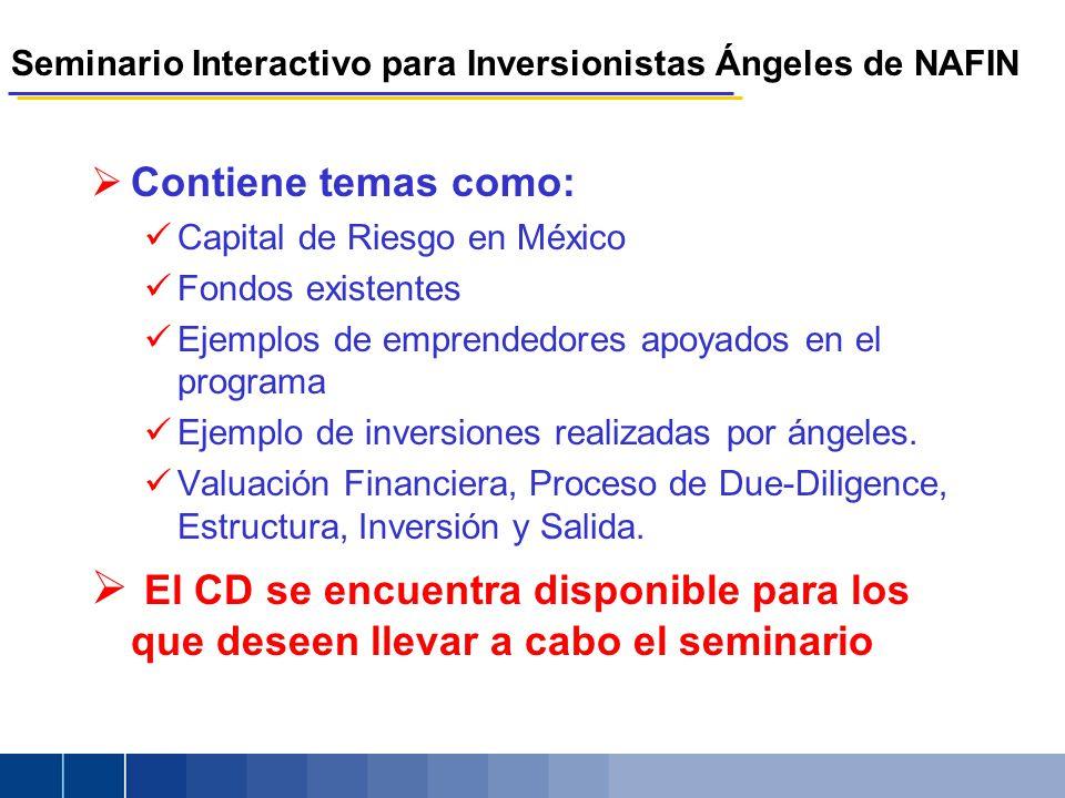 Seminario Interactivo para Inversionistas Ángeles de NAFIN Contiene temas como: Capital de Riesgo en México Fondos existentes Ejemplos de emprendedores apoyados en el programa Ejemplo de inversiones realizadas por ángeles.