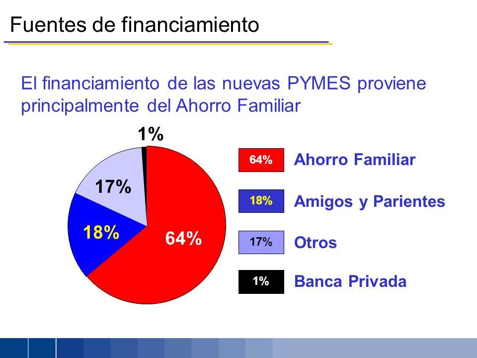 64% El financiamiento de las nuevas PYMES proviene principalmente del Ahorro Familiar 17% 18% 64% Ahorro Familiar 18% Amigos y Parientes 17% Otros 1% Banca Privada 1% Fuentes de financiamiento