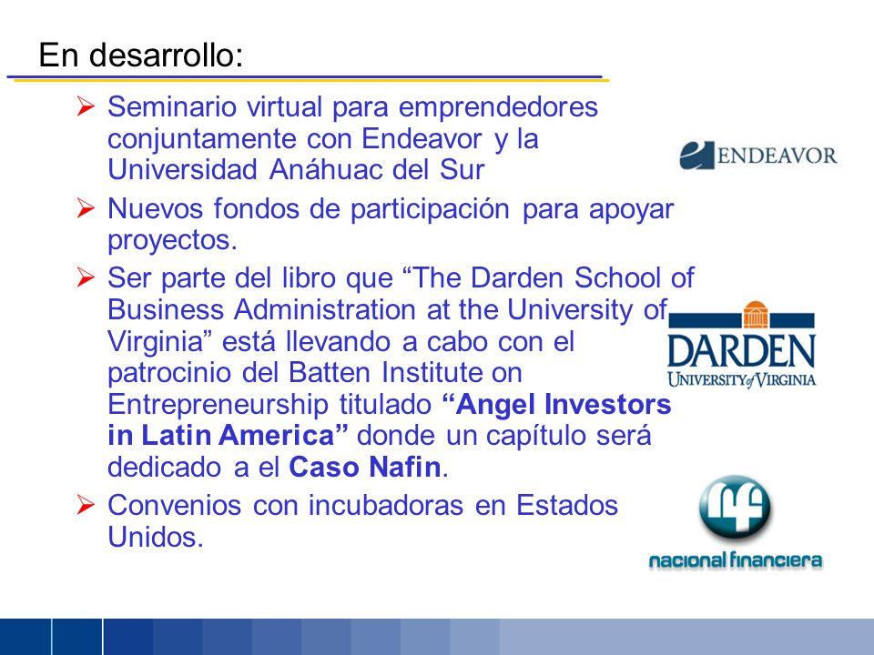 En desarrollo: Seminario virtual para emprendedores conjuntamente con Endeavor y la Universidad Anáhuac del Sur Nuevos fondos de participación para apoyar proyectos.