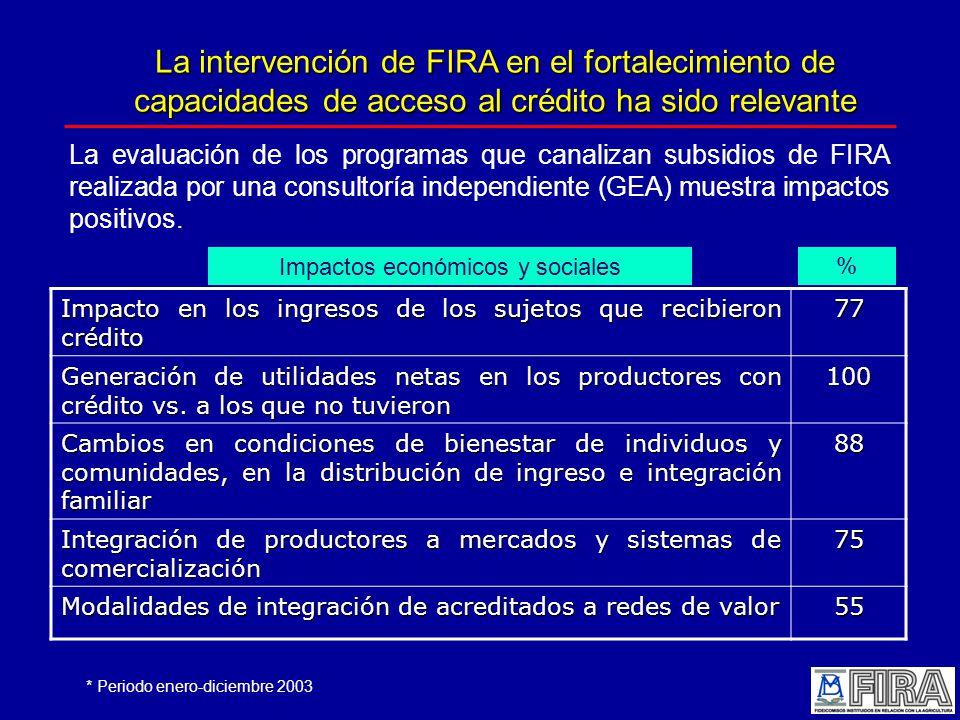 La intervención de FIRA en el fortalecimiento de capacidades de acceso al crédito ha sido relevante La evaluación de los programas que canalizan subsidios de FIRA realizada por una consultoría independiente (GEA) muestra impactos positivos.