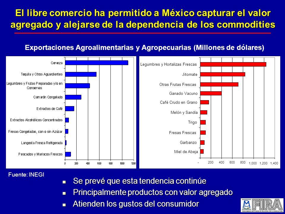 El libre comercio ha permitido a México capturar el valor agregado y alejarse de la dependencia de los commodities Se prevé que esta tendencia continúe Se prevé que esta tendencia continúe Principalmente productos con valor agregado Principalmente productos con valor agregado Atienden los gustos del consumidor Atienden los gustos del consumidor Exportaciones Agroalimentarias y Agropecuarias (Millones de dólares) -200400600800 1,0001,2001,400 Garbanzo Fresas Frescas Trigo Melón y Sandía Café Crudo en Grano Otras Frutas Frescas Jitomate Legumbres y Hortalizas Frescas Miel de Abeja Ganado Vacuno Fuente: INEGI