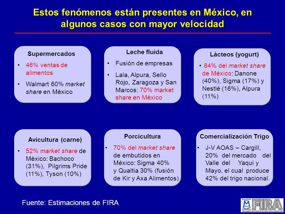 Estos fenómenos están presentes en México, en algunos casos con mayor velocidad Supermercados 46% ventas de alimentos Walmart 60% market share en México Leche fluida Fusión de empresas Lala, Alpura, Sello Rojo, Zaragoza y San Marcos: 70% market share en México Lácteos (yogurt) 84% del market share de México: Danone (40%), Sigma (17%) y Nestlé (16%), Alpura (11%) Avicultura (carne) 52% market share de México: Bachoco (31%), Pilgrims Pride (11%), Tyson (10%) Porcicultura 70% del market share de embutidos en México: Sigma 40% y Qualtia 30% (fusión de Kir y Axa Alimentos) Comercialización Trigo J-V AOAS – Cargill, 20% del mercado del Valle del Yaqui y Mayo, el cual produce 42% del trigo nacional.