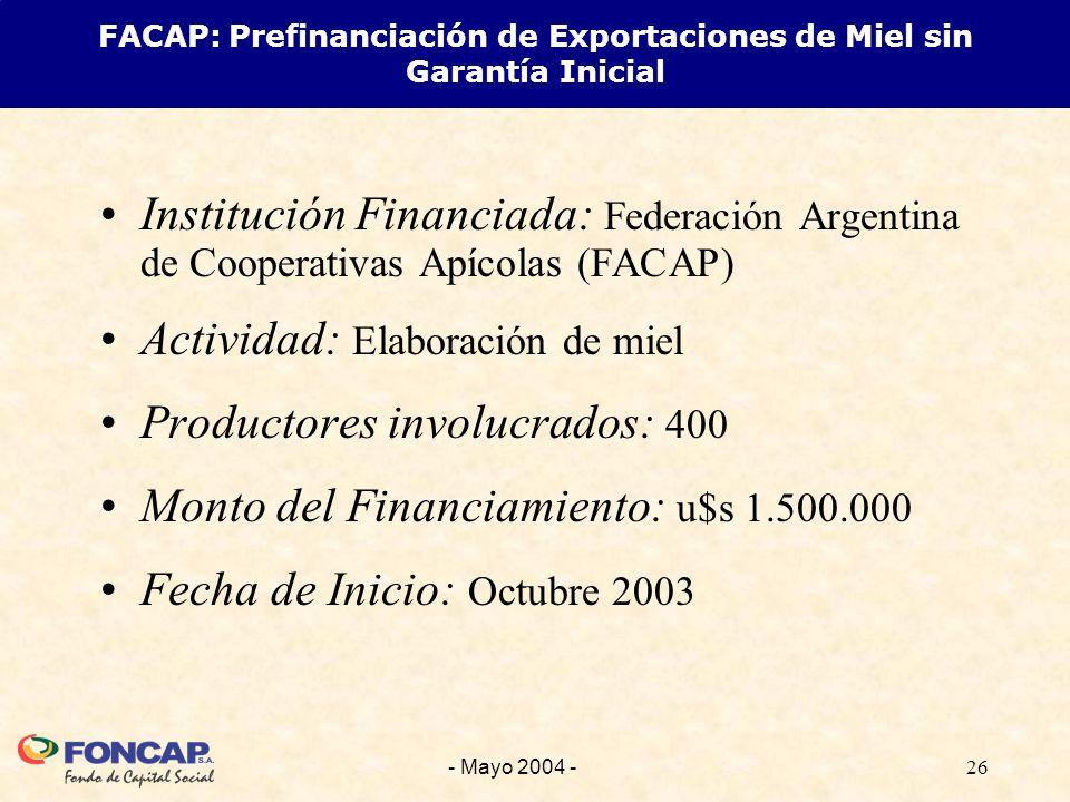 26- Mayo 2004 - Institución Financiada: Federación Argentina de Cooperativas Apícolas (FACAP) Actividad: Elaboración de miel Productores involucrados: 400 Monto del Financiamiento: u$s 1.500.000 Fecha de Inicio: Octubre 2003 FACAP: Prefinanciación de Exportaciones de Miel sin Garantía Inicial