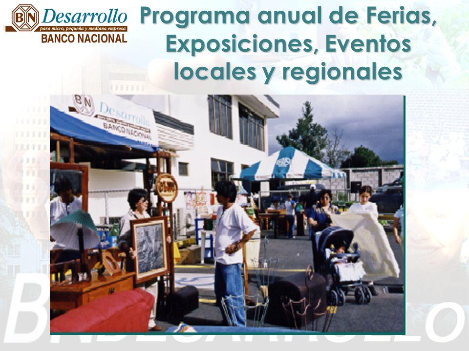 Programa anual de Ferias, Exposiciones, Eventos locales y regionales