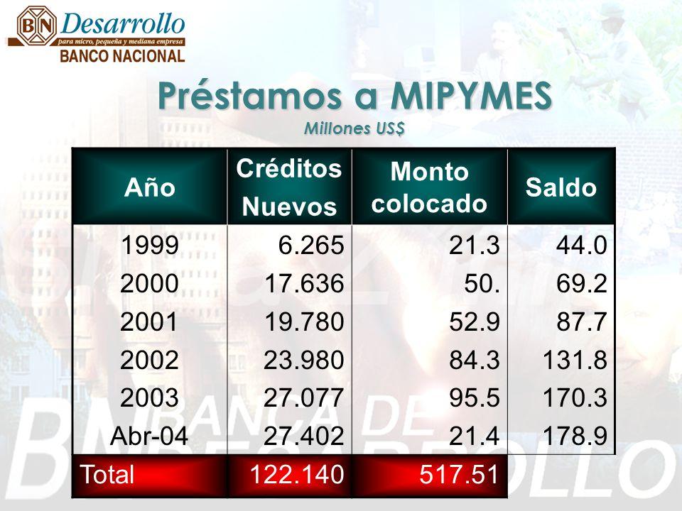 Préstamos a MIPYMES Millones US$ Año Créditos Nuevos Monto colocado Saldo 1999 2000 2001 2002 2003 Abr-04 6.265 17.636 19.780 23.980 27.077 27.402 21.