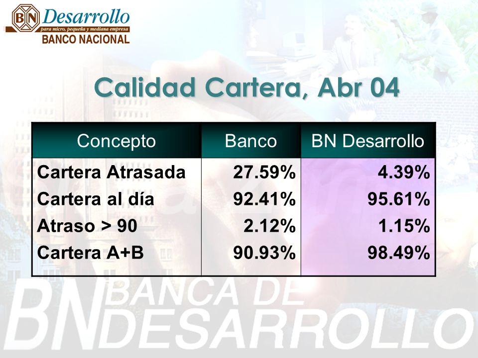 Calidad Cartera, Abr 04 ConceptoBancoBN Desarrollo Cartera Atrasada Cartera al día Atraso > 90 Cartera A+B 27.59% 92.41% 2.12% 90.93% 4.39% 95.61% 1.1