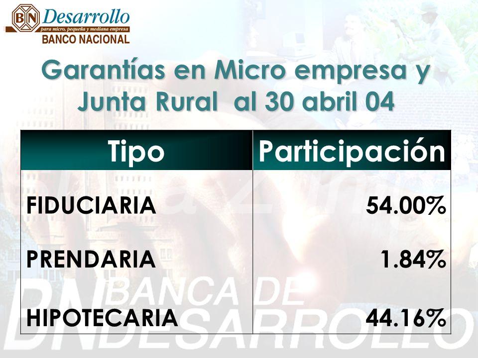 Garantías en Micro empresa y Junta Rural al 30 abril 04 TipoParticipación FIDUCIARIA54.00% PRENDARIA1.84% HIPOTECARIA44.16%