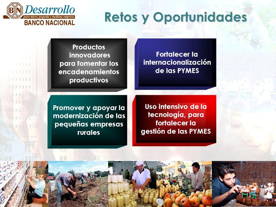 Productos innovadores para fomentar los encadenamientos productivos Fortalecer la internacionalización de las PYMES Promover y apoyar la modernización