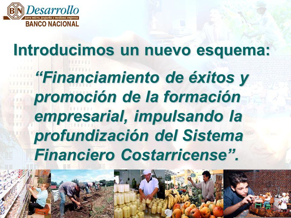 Financiamiento de éxitos y promoción de la formación empresarial, impulsando la profundización del Sistema Financiero Costarricense. Introducimos un n