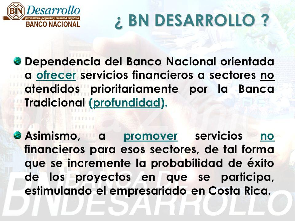 ¿ BN DESARROLLO ? Dependencia del Banco Nacional orientada a ofrecer servicios financieros a sectores no atendidos prioritariamente por la Banca Tradi