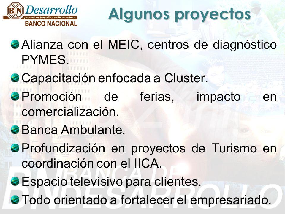 Algunos proyectos Alianza con el MEIC, centros de diagnóstico PYMES. Capacitación enfocada a Cluster. Promoción de ferias, impacto en comercialización
