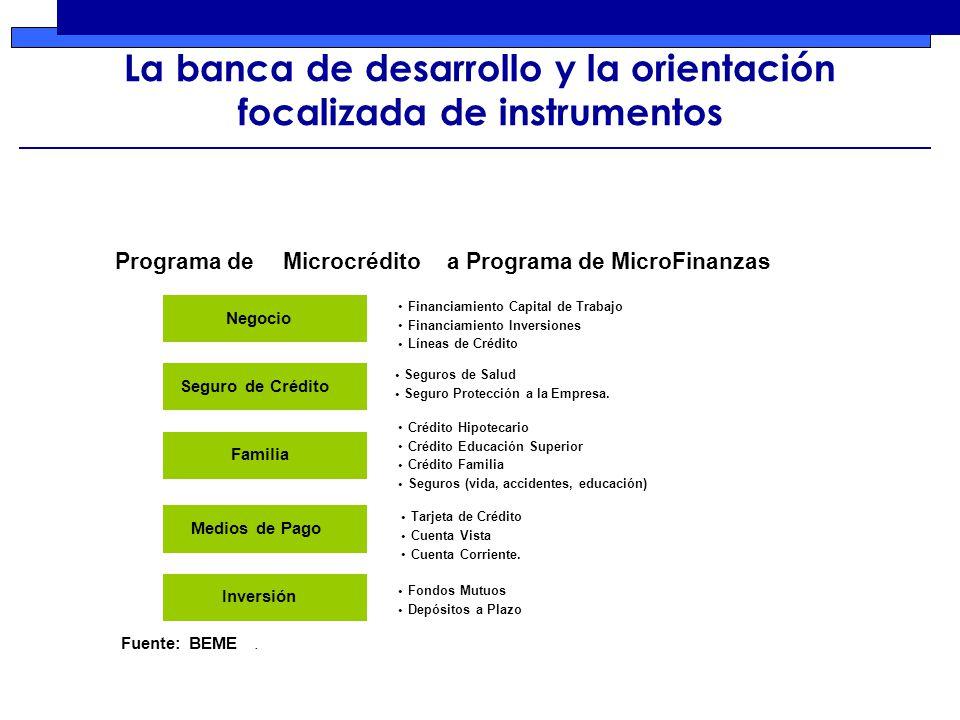 La banca de desarrollo y la orientación focalizada de instrumentos Negocio Financiamiento Capital de Trabajo Financiamiento Inversiones Líneas de Crédito Seguros de Salud Seguro Protección a la Empresa.