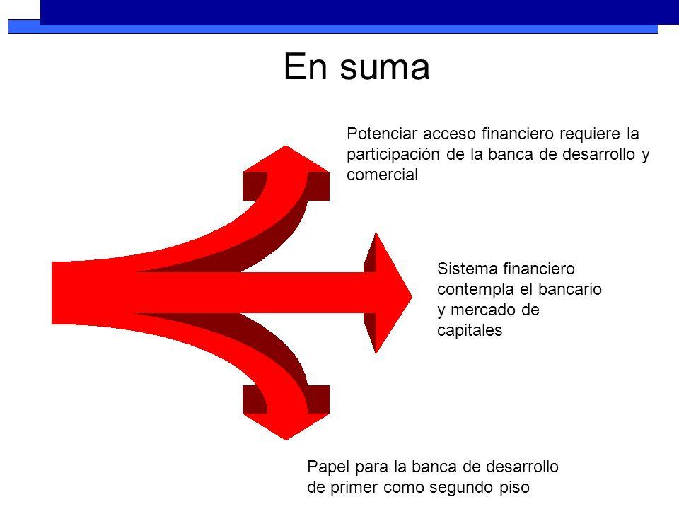 Potenciar acceso financiero requiere la participación de la banca de desarrollo y comercial Sistema financiero contempla el bancario y mercado de capitales Papel para la banca de desarrollo de primer como segundo piso En suma