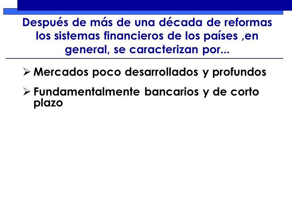 Después de más de una década de reformas los sistemas financieros de los países,en general, se caracterizan por...