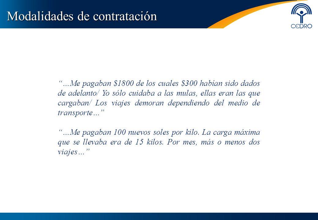 Modalidades de contratación …Me pagaban $1800 de los cuales $300 habían sido dados de adelanto/ Yo sólo cuidaba a las mulas, ellas eran las que cargab