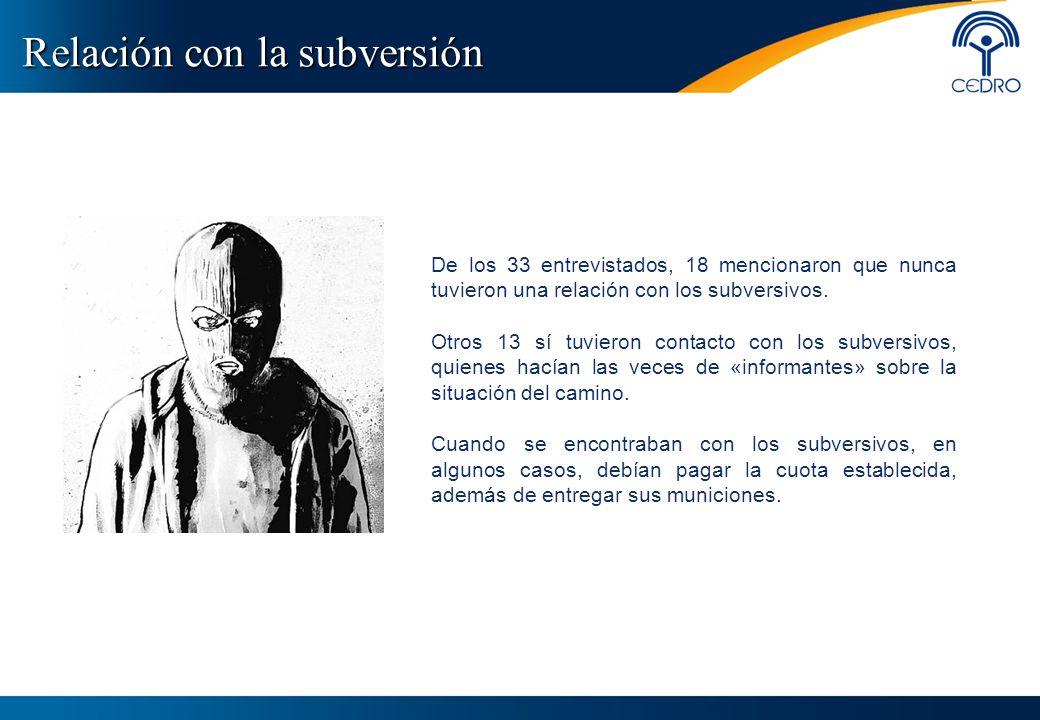 Relación con la subversión De los 33 entrevistados, 18 mencionaron que nunca tuvieron una relación con los subversivos. Otros 13 sí tuvieron contacto