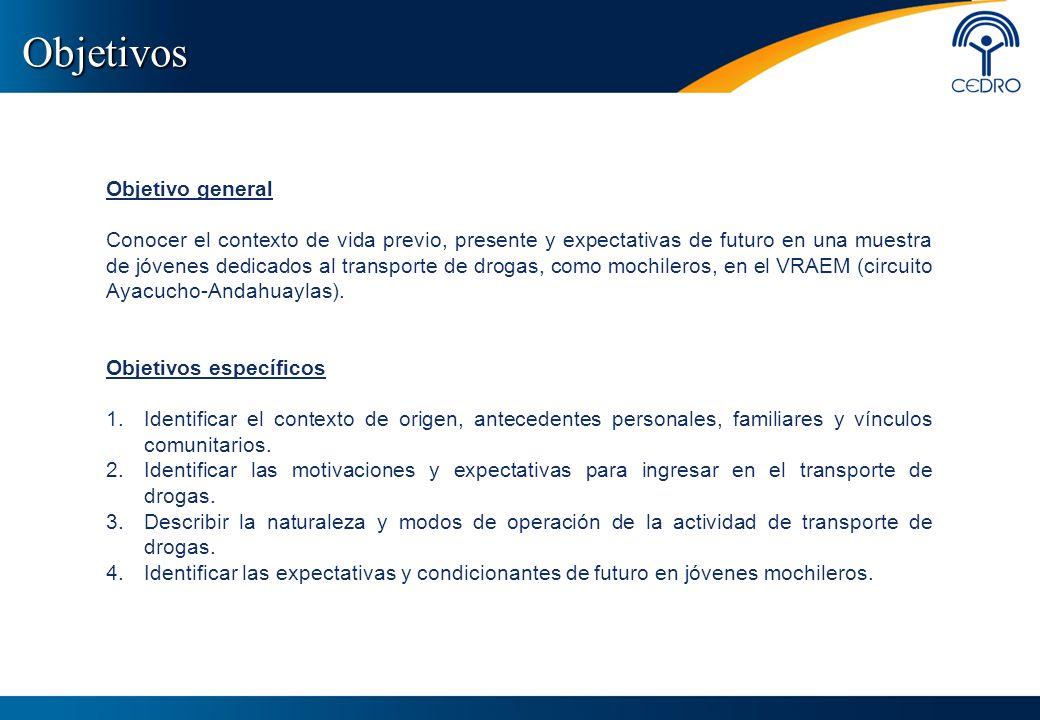 Objetivos Objetivo general Conocer el contexto de vida previo, presente y expectativas de futuro en una muestra de jóvenes dedicados al transporte de