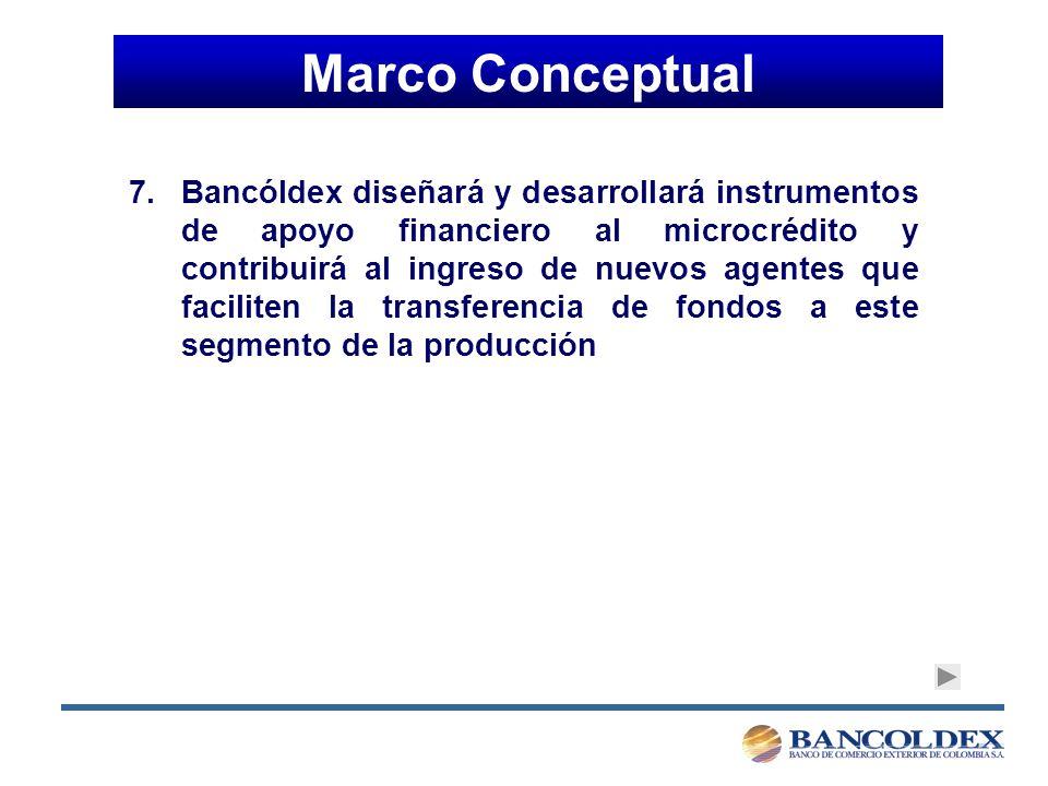 Marco Conceptual 7.Bancóldex diseñará y desarrollará instrumentos de apoyo financiero al microcrédito y contribuirá al ingreso de nuevos agentes que faciliten la transferencia de fondos a este segmento de la producción
