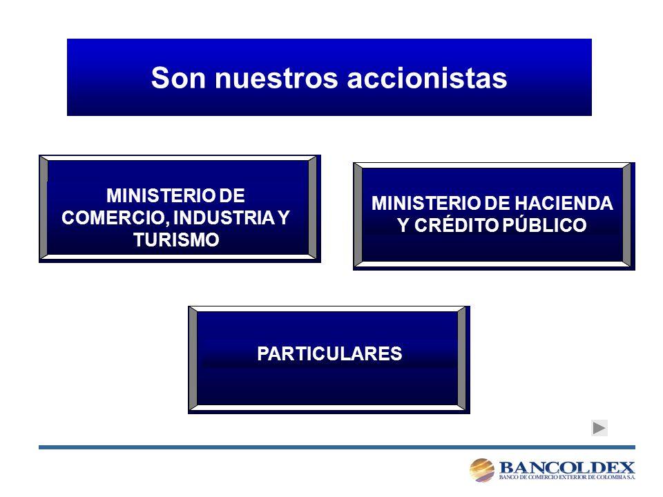Son nuestros accionistas MINISTERIO DE COMERCIO, INDUSTRIA Y TURISMO MINISTERIO DE HACIENDA Y CRÉDITO PÚBLICO PARTICULARES