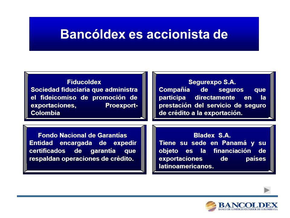 Bancóldex es accionista de Fiducoldex Sociedad fiduciaria que administra el fideicomiso de promoción de exportaciones, Proexport- Colombia Segurexpo S.A.
