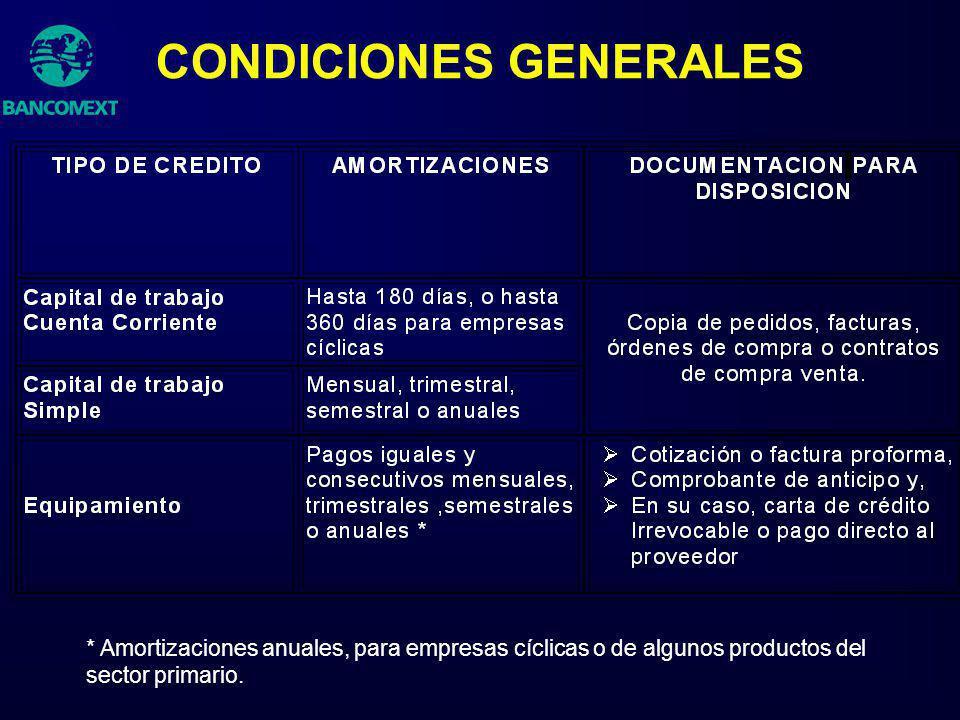 CONDICIONES GENERALES * Amortizaciones anuales, para empresas cíclicas o de algunos productos del sector primario.
