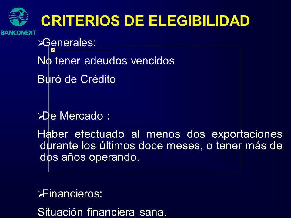 CRITERIOS DE ELEGIBILIDAD Generales: No tener adeudos vencidos Buró de Crédito De Mercado : Haber efectuado al menos dos exportaciones durante los últ