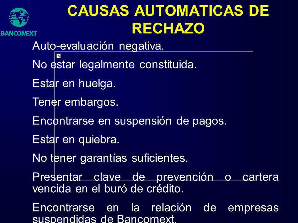CAUSAS AUTOMATICAS DE RECHAZO Auto-evaluación negativa. No estar legalmente constituida. Estar en huelga. Tener embargos. Encontrarse en suspensión de