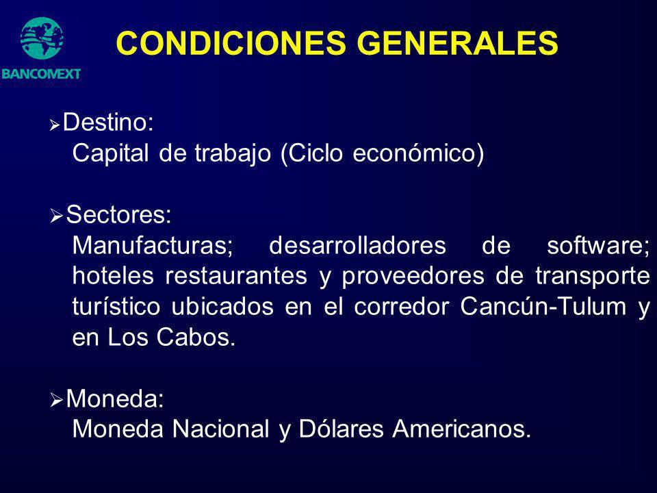 Destino: Capital de trabajo (Ciclo económico) Sectores: Manufacturas; desarrolladores de software; hoteles restaurantes y proveedores de transporte tu