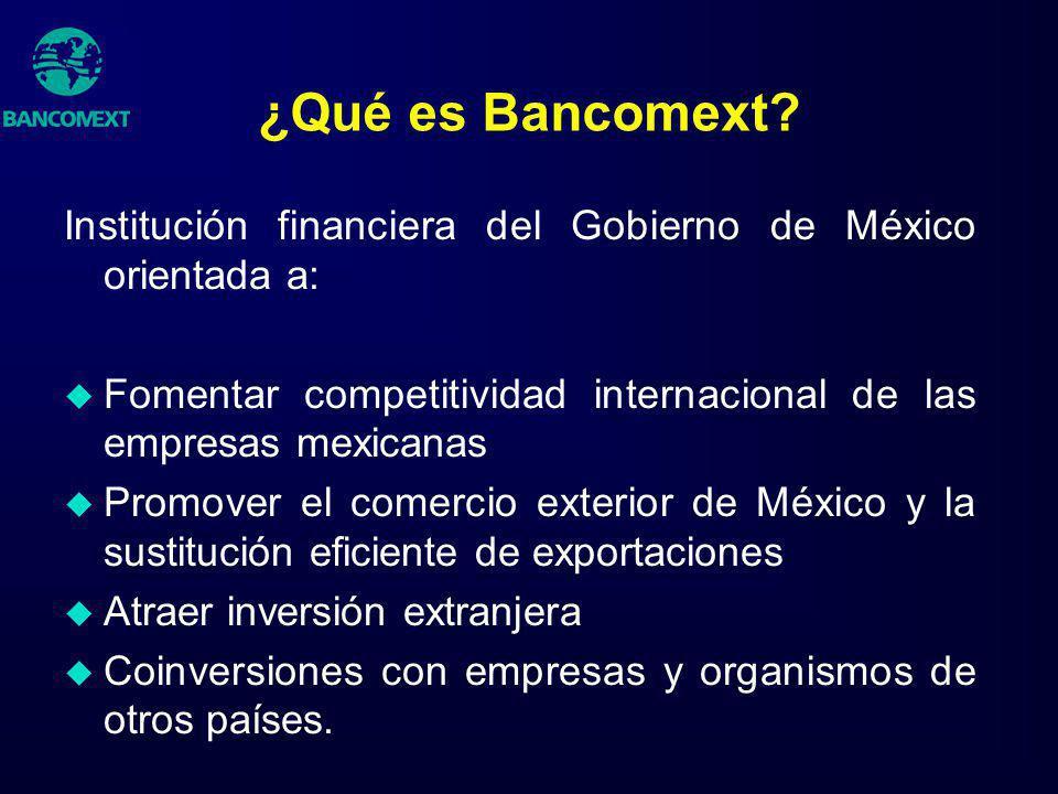 ¿Qué es Bancomext? Institución financiera del Gobierno de México orientada a: u Fomentar competitividad internacional de las empresas mexicanas u Prom