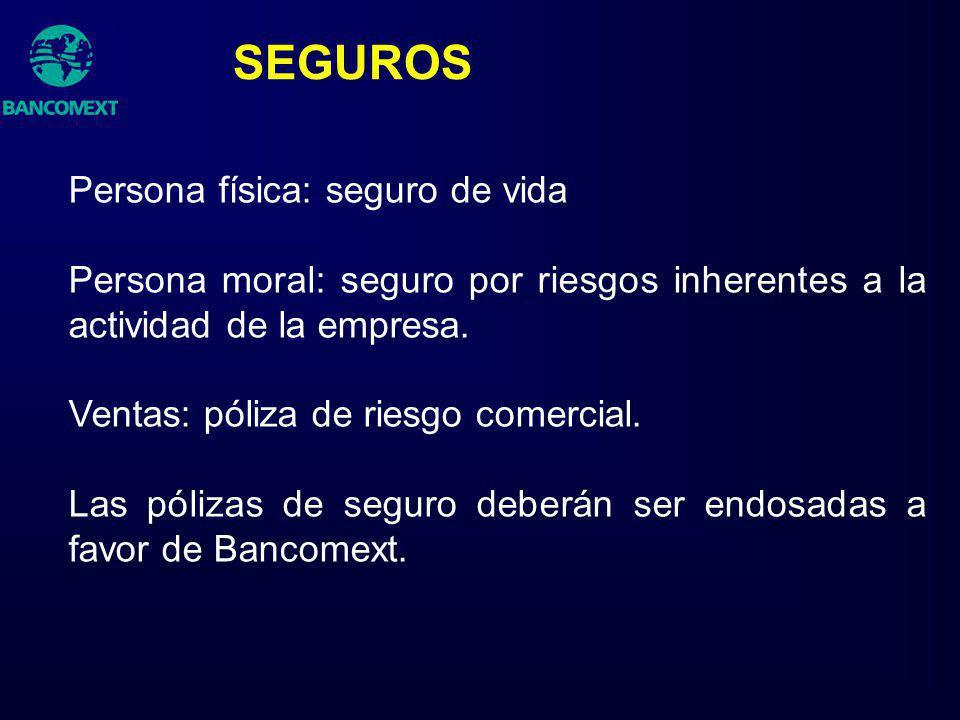SEGUROS Persona física: seguro de vida Persona moral: seguro por riesgos inherentes a la actividad de la empresa. Ventas: póliza de riesgo comercial.