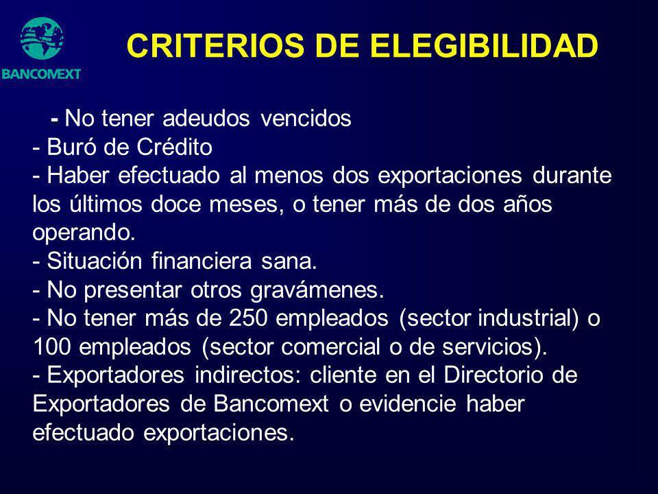 CRITERIOS DE ELEGIBILIDAD - No tener adeudos vencidos - Buró de Crédito - Haber efectuado al menos dos exportaciones durante los últimos doce meses, o