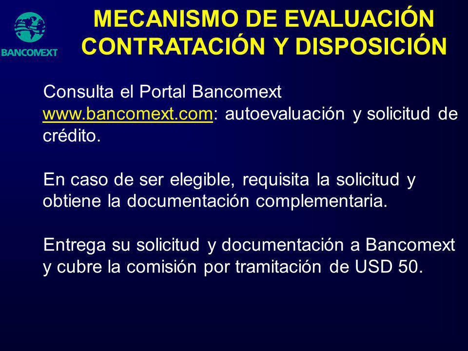 Consulta el Portal Bancomext www.bancomext.com: autoevaluación y solicitud de crédito. www.bancomext.com En caso de ser elegible, requisita la solicit