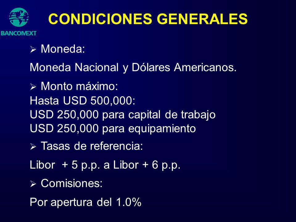Moneda: Moneda Nacional y Dólares Americanos. Monto máximo: Hasta USD 500,000: USD 250,000 para capital de trabajo USD 250,000 para equipamiento Tasas