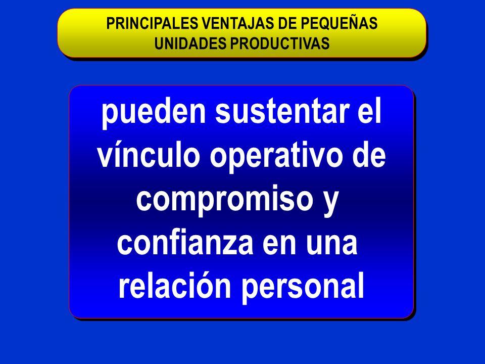 pueden sustentar el vínculo operativo de compromiso y confianza en una relación personal PRINCIPALES VENTAJAS DE PEQUEÑAS UNIDADES PRODUCTIVAS