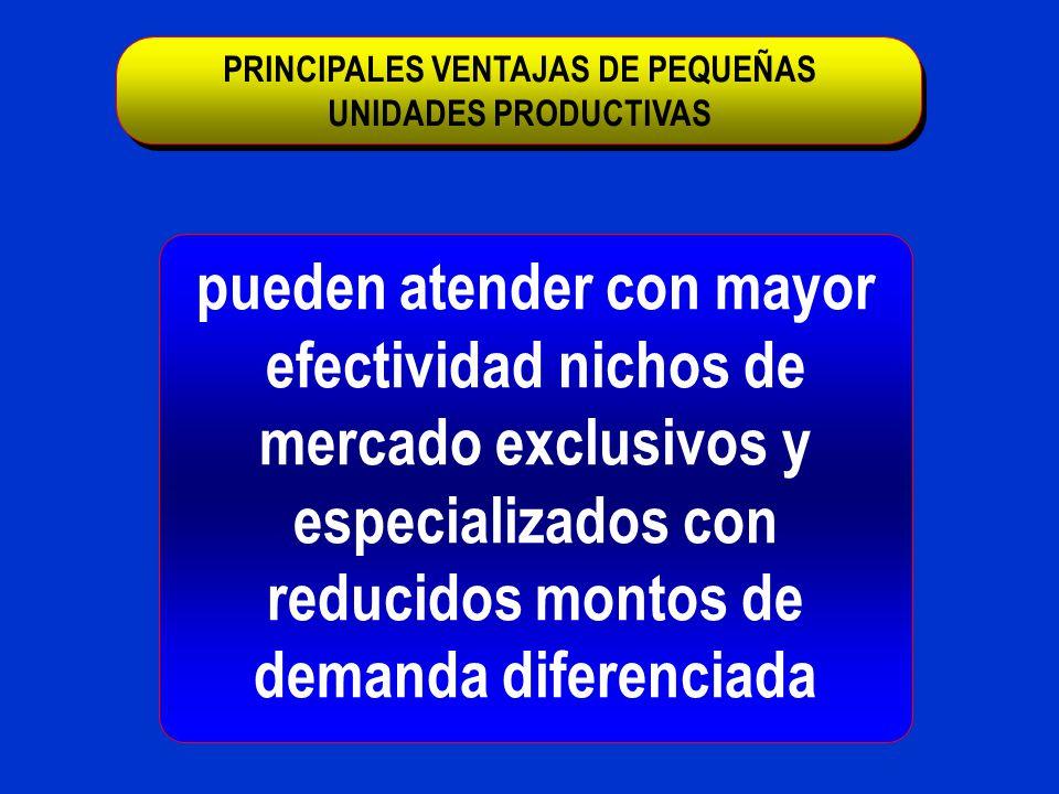 pueden atender con mayor efectividad nichos de mercado exclusivos y especializados con reducidos montos de demanda diferenciada PRINCIPALES VENTAJAS D