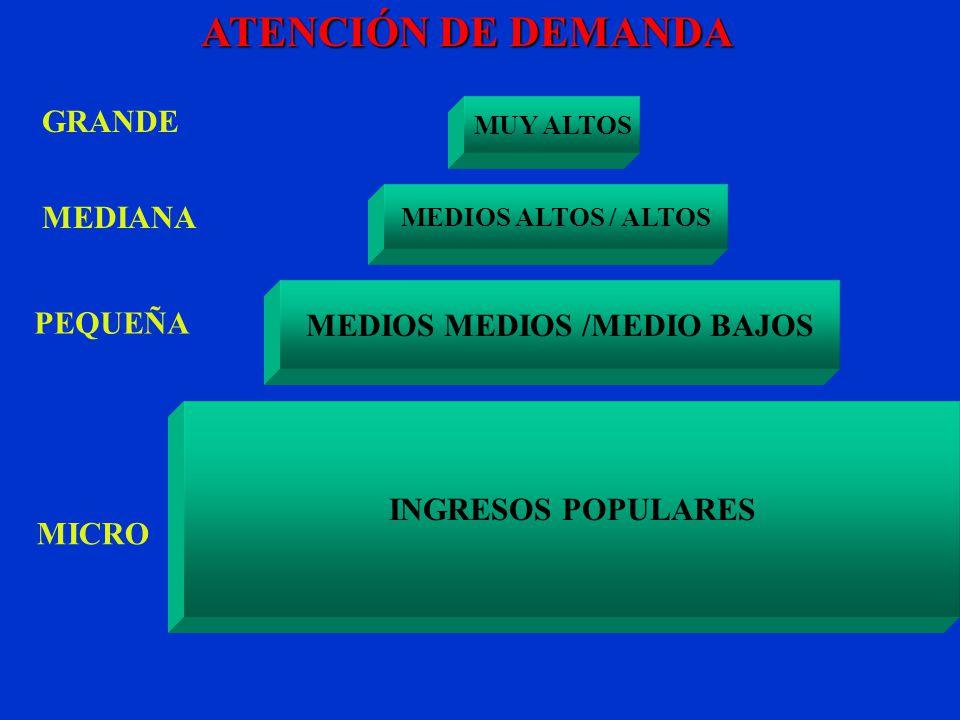 MICRO PEQUEÑA GRANDEMEDIANA ATENCIÓN DE DEMANDA MEDIOS MEDIOS /MEDIO BAJOS MUY ALTOS MEDIOS ALTOS / ALTOS INGRESOS POPULARES