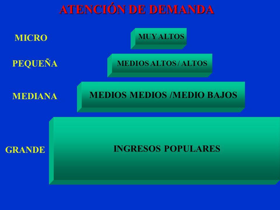 MICRO PEQUEÑA GRANDE MEDIANA ATENCIÓN DE DEMANDA MEDIOS MEDIOS /MEDIO BAJOS MUY ALTOS MEDIOS ALTOS / ALTOS INGRESOS POPULARES