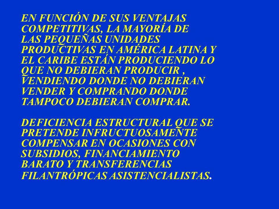 EN FUNCIÓN DE SUS VENTAJAS COMPETITIVAS, LA MAYORÍA DE LAS PEQUEÑAS UNIDADES PRODUCTIVAS EN AMÉRICA LATINA Y EL CARIBE ESTÁN PRODUCIENDO LO QUE NO DEBIERAN PRODUCIR, VENDIENDO DONDE NO DEBIERAN VENDER Y COMPRANDO DONDE TAMPOCO DEBIERAN COMPRAR.